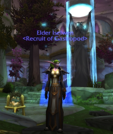 Iselwen Moonflower has played a small part in some stories.  She is a birthing priestess and helps bring babies into the world.  She has her own daughter, Zhyra.  OOC - She's a level 81 disc priest.